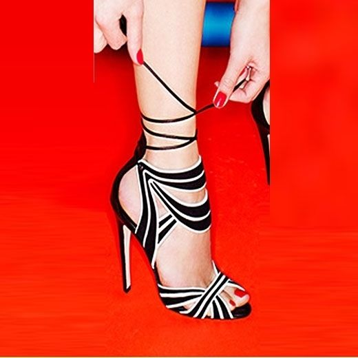 Sexy Black & White Two Tone Contrast Color Lace Up Dress Sandals ...