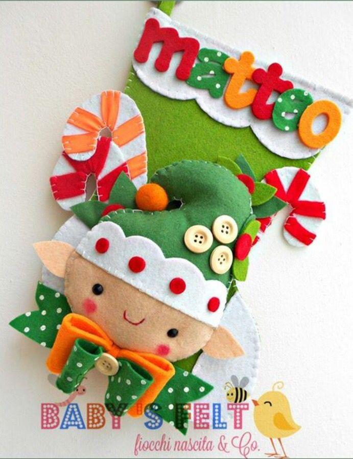 Bota Navide A Duende Navidad En Fieltro Navidad