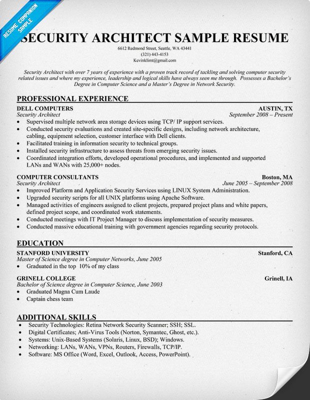Security Architect Resume (Resumecompanion.Com) | Resume Samples