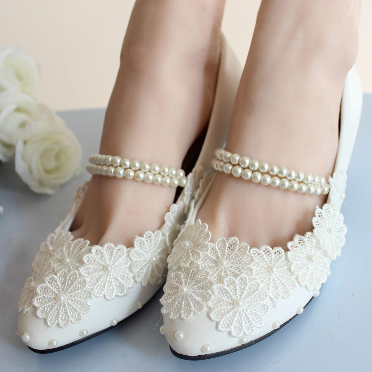 Elegante Elfenbein Niedrigen Ferse Hochzeit Schuhe für die Schöne ...