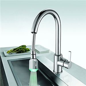 Solid Br Kitchen Faucet With Color Changing Led Light See More At