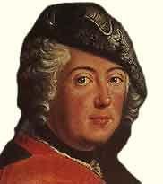 Фридрих II Великий —  прусский король с 1740 года из династии Гогенцоллернов, выдающийся полководец 18 века, сын Фридриха Вильгельма I Гогенцоллерна - http://to-name.ru/biography/fridrih-2-velikij.htm