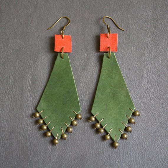 Photo of Items similar to Leather earrings 'Dima' on Etsy