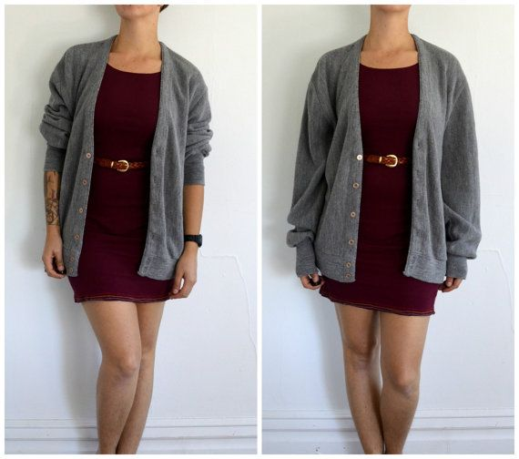 Vintage Grey Grandpa Hipster Sweater Cardigan
