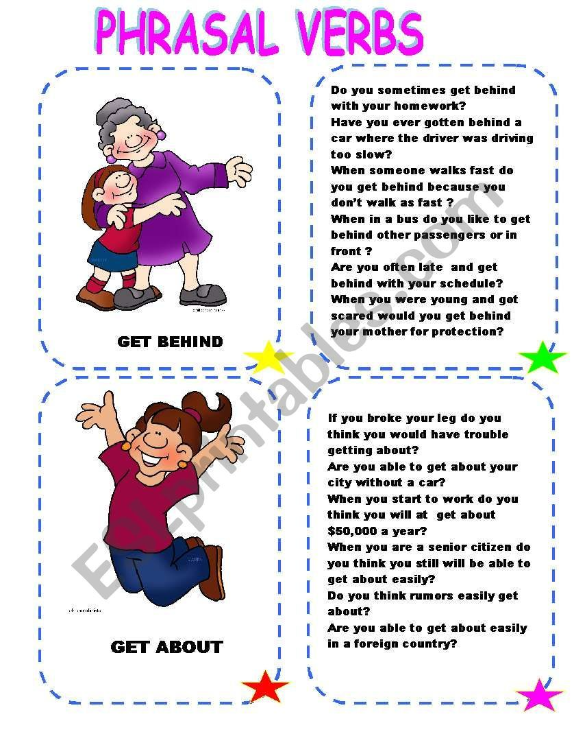 This Set Of Flashcards Will Enable Your Students To Understand The Use Of Phrasal Verbs The Cards Have Several Questions In Verb Grammar Worksheets Verbs Esl [ 1086 x 838 Pixel ]