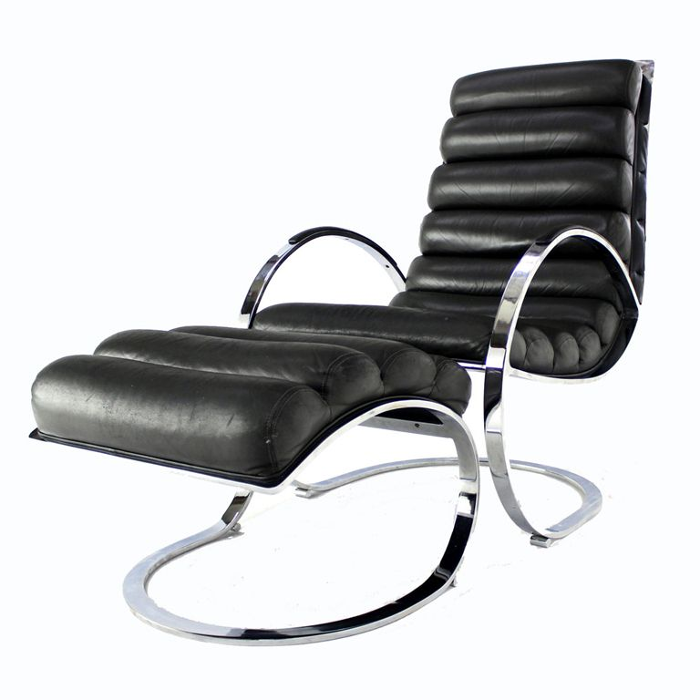 Chrome and Leather MidCentury Modern Lounge Chair and