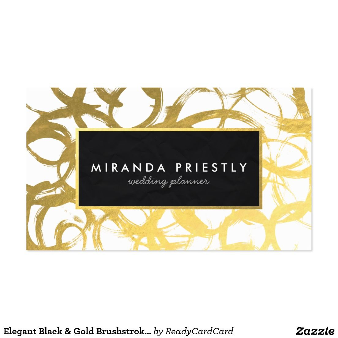 Elegant Black & Gold Brushstrokes Wedding Planner Business Card ...