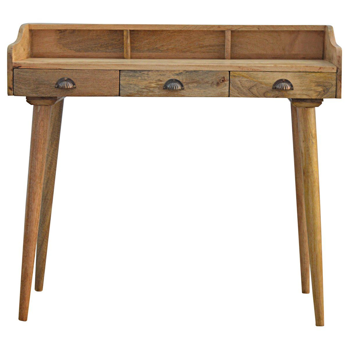 This Writing Desk Is Constructed From 100 Solid Mango Wood And Has A Fine Oakish Finish Useful Storag Solid Wood Writing Desk Wooden Writing Desk Wooden Desk