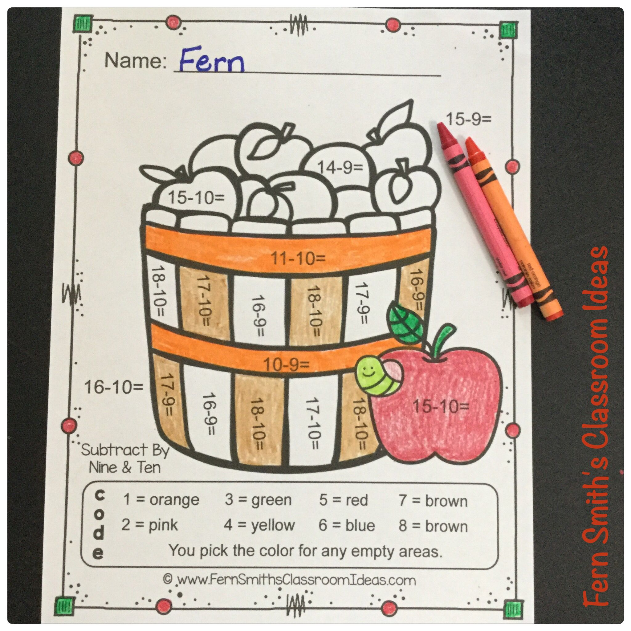 Color By Numbers Apples Addition Subtraction