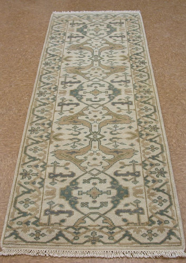 3 X 8 Oushak Style Hand Knotted Wool Ivory Blue Beige New Runner Oriental Rug