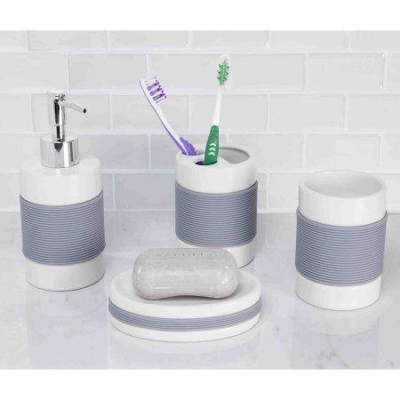 Tremendous Home Basics 4 Piece White With Rubber Bathroom Accessory Set Interior Design Ideas Gentotthenellocom