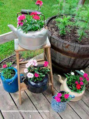 Ideas Para Crear Maceteros Con Objetos Reciclados Para Decorar El Jardín Jardinería En Macetas Jardines Maceteros De Jardín