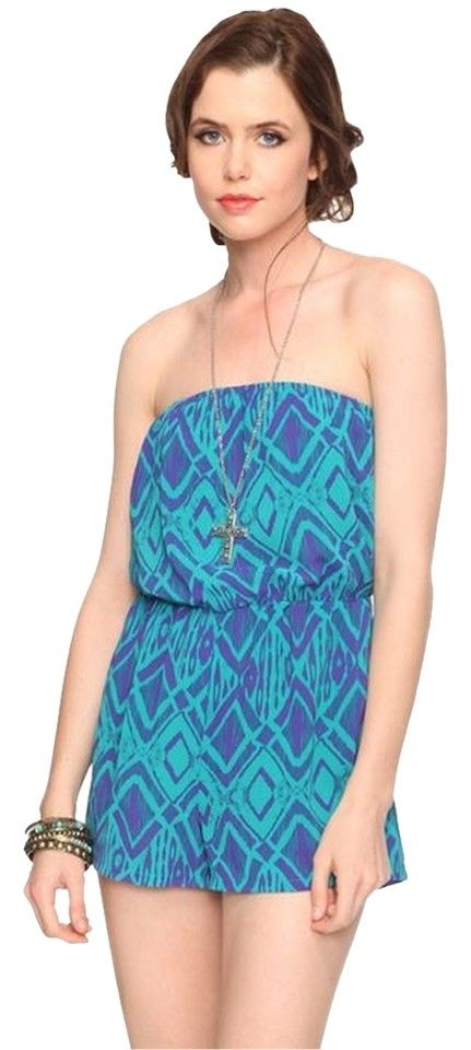 8200a4c5cb25 Forever 21 Teal Purple Patterened Romper Jumpsuit. Free shipping and  guaranteed authenticity on