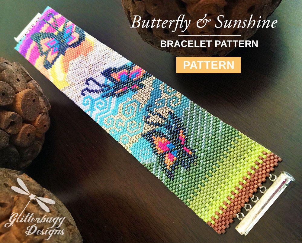 Bead Bracelet Pattern Butterfly Sunshine by GlitterbuggDesigns