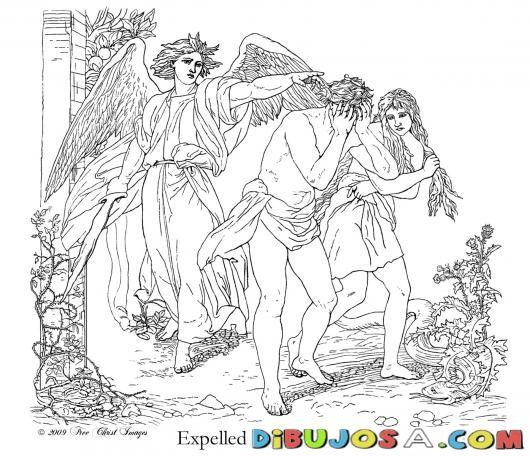 pintar dibujo de adan y eva expulsados del paraiso | COLOREAR ...
