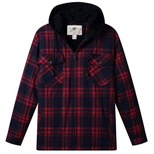 ee911ee67be WenVen Men s Plaid Hooded Shirt Jacket with Sherpa Lined(Red