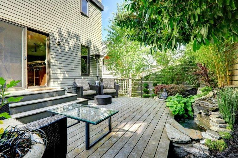 suelo de madera y mucha plantas preciosas Terrazas, decoración - terrazas en madera