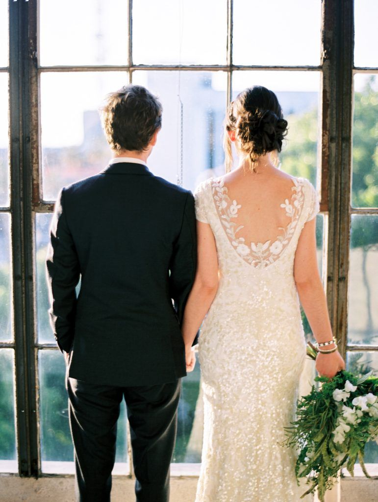 Ross wedding dress  Downtown LA Loft Wedding with Greenery Chandeliers at the Hudson