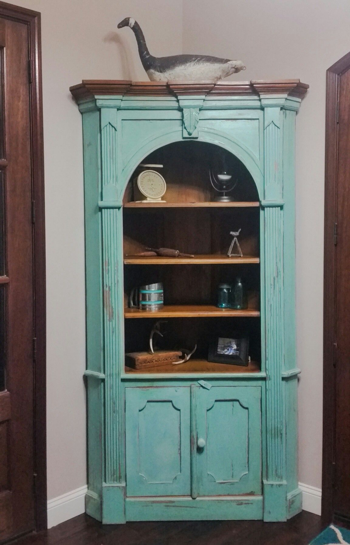 Turquoise corner cabinet | Our home | Pinterest | China cabinets
