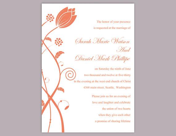 DIY Wedding Invitation Template Editable Word File Instant - invitations word template