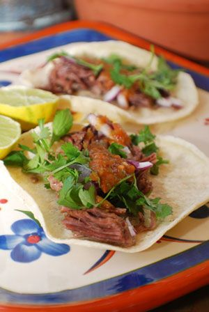 Barbara Adams Beyond Wonderful » Barbacoa de res Vaca Tacos of beef or lamb steamed in maguey (century cactus leaves) Authentic Mexican Recipe