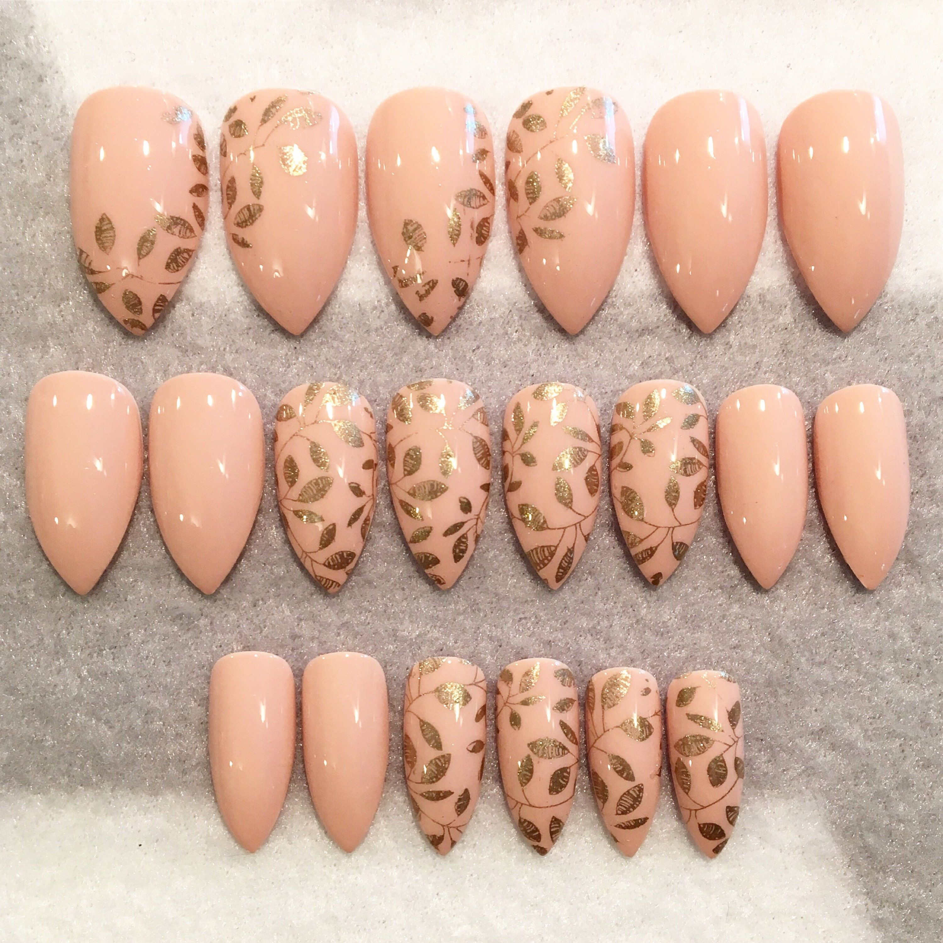Pinkish Nude Stiletto Fake Nails * Faux Nails * Glue On Nails * Nude ...