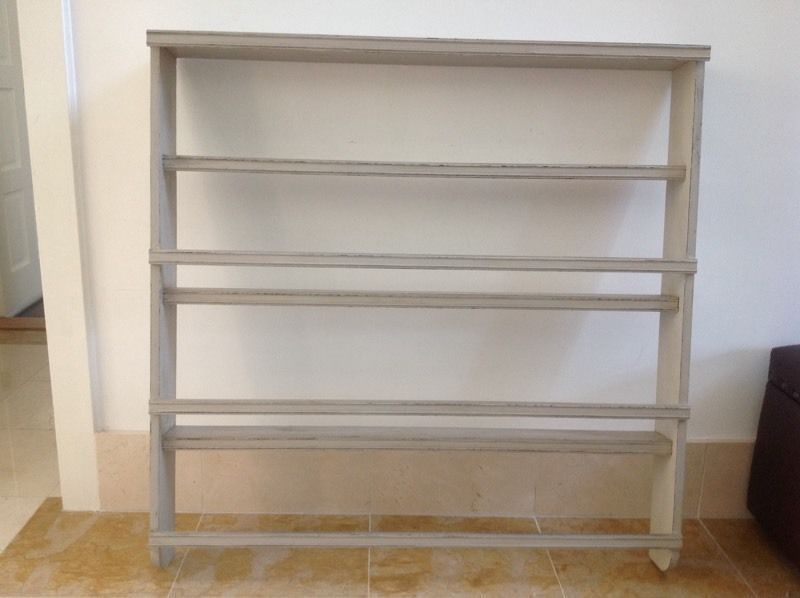 Shabby chic painted wooden wall mounted plate display rack. Measurements - height 109cm width & Shabby chic painted wooden wall mounted plate display rack ...