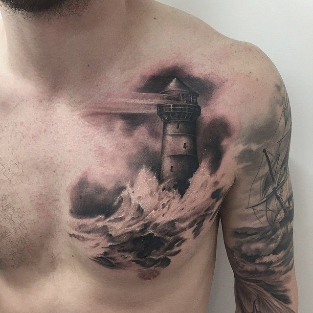 Lighthouse Tattoo Done By Mor Workproud Wearproud Black Ink