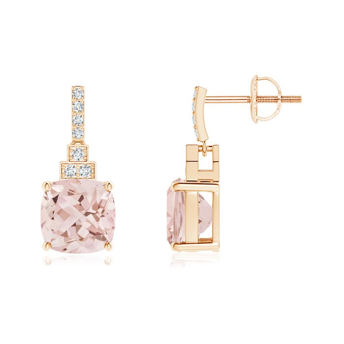 Angara Morganite, Pink Sapphire and Diamond Dangle Earrings in White Gold