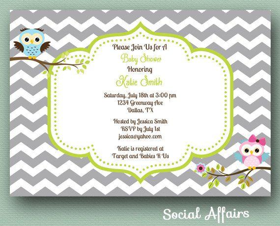 Gender Neutral Owl Baby Shower Invitation Diy Printable