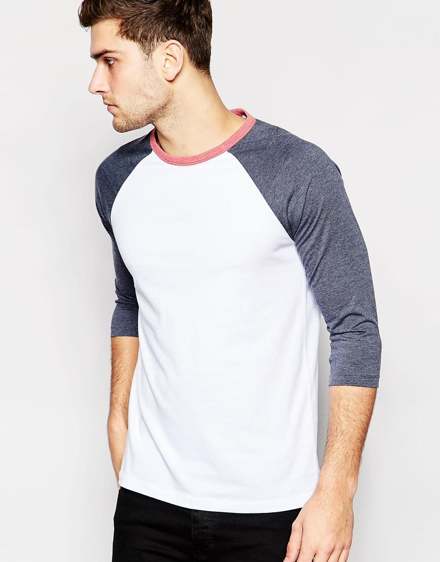 4df86cb1 Image 1 of ASOS 3/4 Sleeve T-Shirt With Contrast Raglan Sleeves With Contrast  Neck Trim