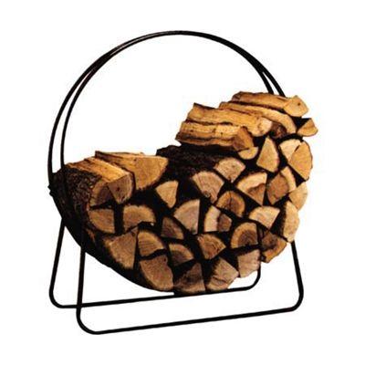 "Panacea 40"" Tubular Steel Log Hoop 15209. Black steel log hoop is powder-coated to withstand the elements. Use to store, dry and display firewood. 40"" dia. Tubular steel. #loghoop #firewoodrack #lograck"