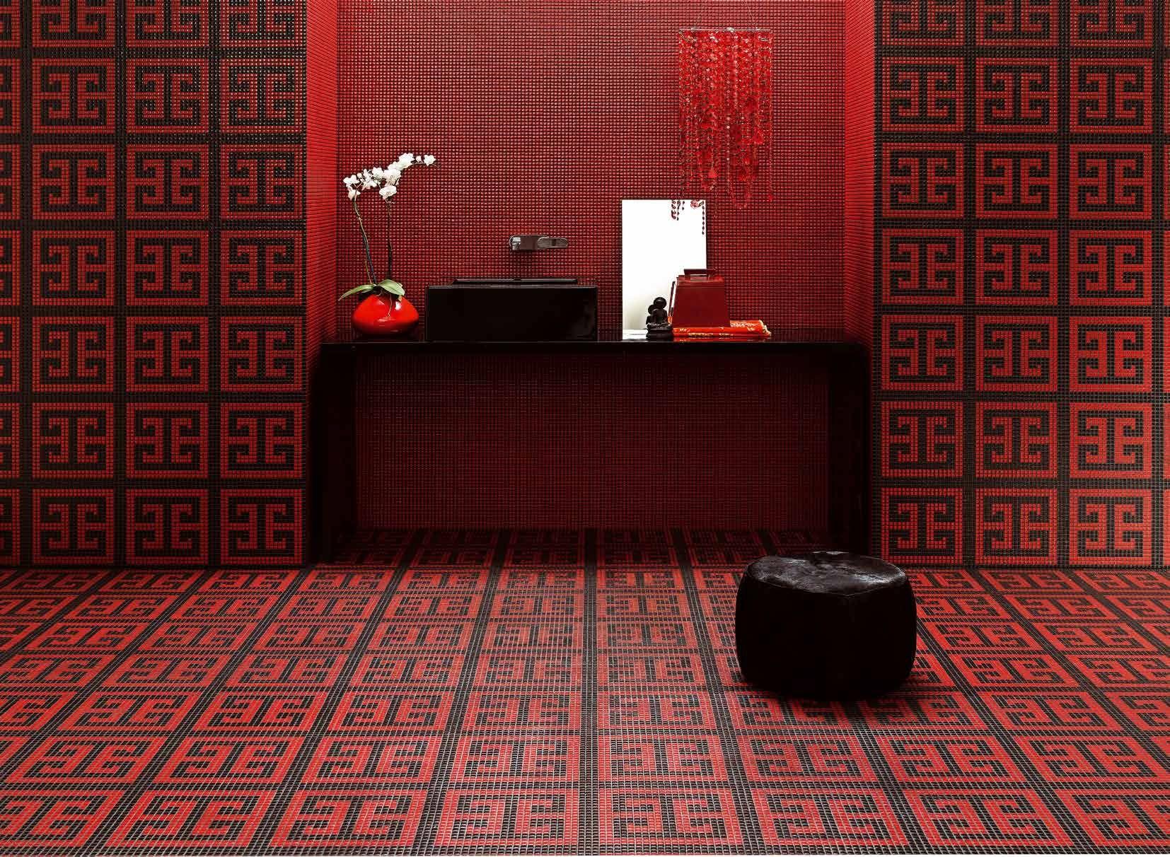 Bisazza Decorations Opus Romano Key Red Mosaic Glass Flooring Black Mosaic Bathroom