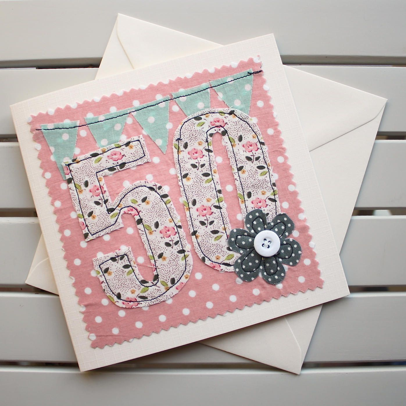 Th birthday card machine embroidered u optional personalised