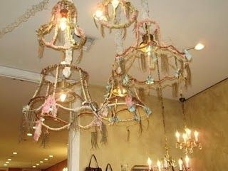 Love these crafty pinterest lampshades chandeliers and lights recycle old lampshades aloadofball Image collections