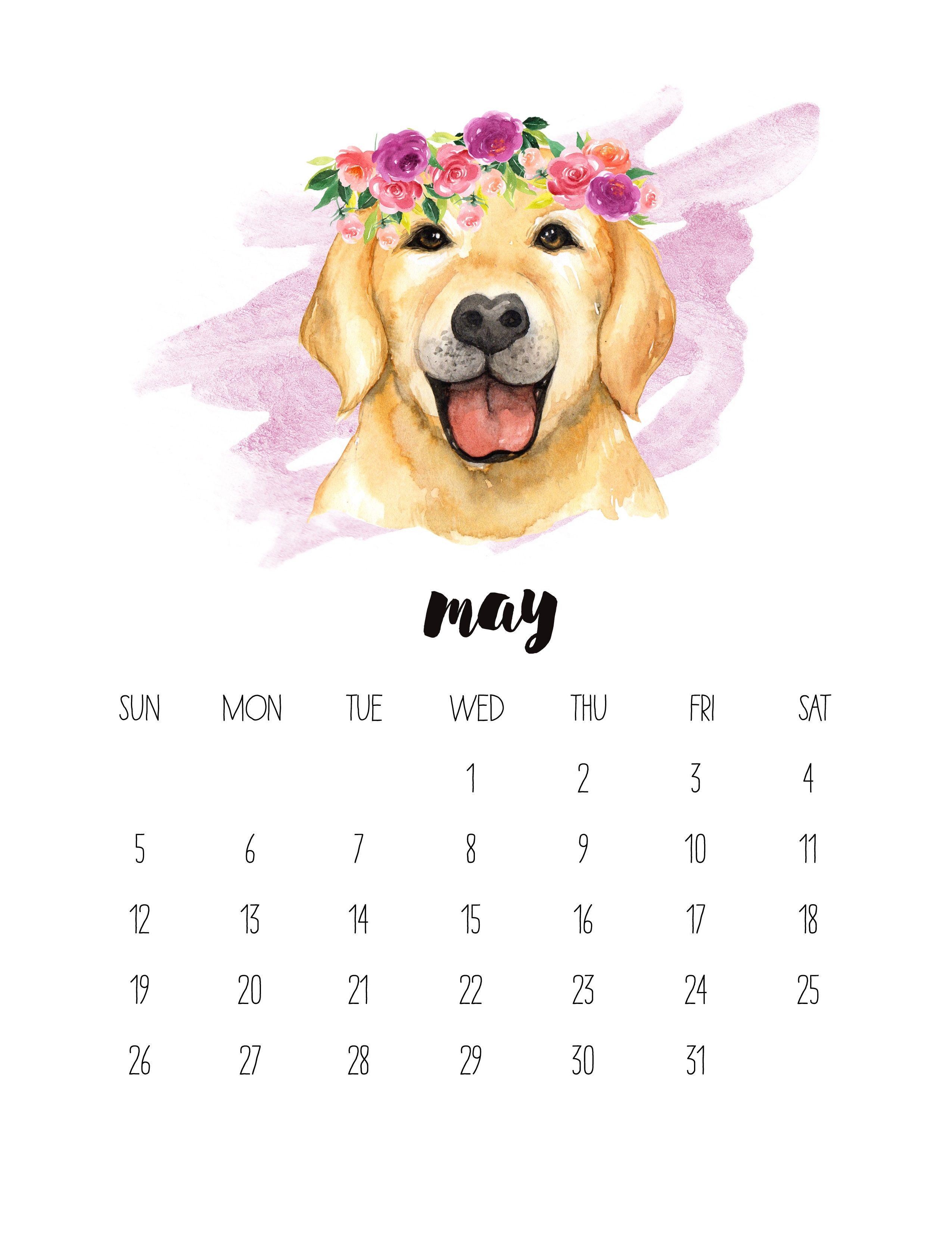 watercolor may 2019 printable calendar