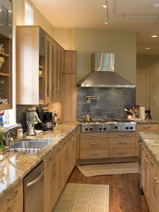 Birch Kitchen Slab Doors Oak Floors New Kitchen Ideas