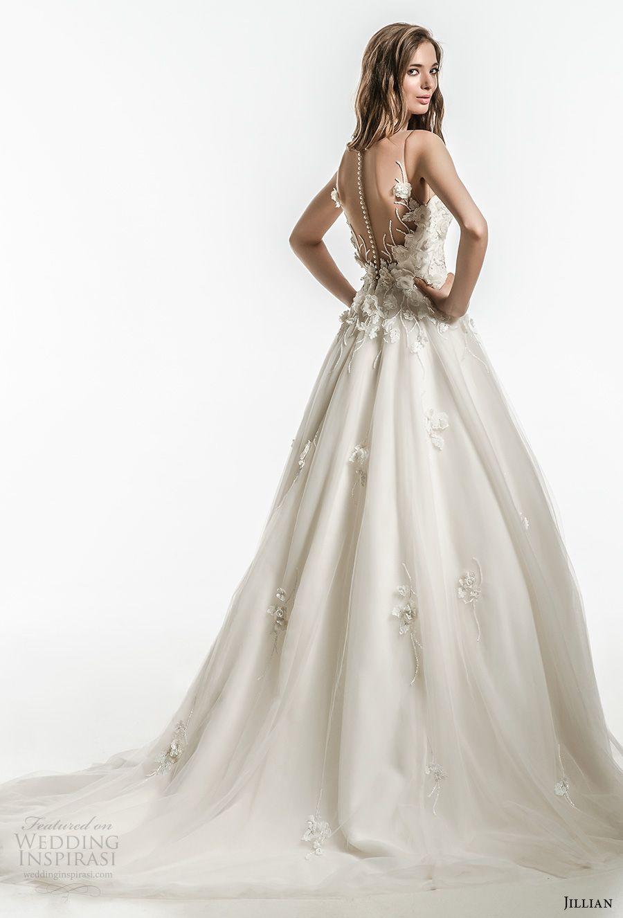 jillian 2018 bridal sleeveless illusion jewel sweetheart neckline heavily embellished bodice romantic a line wedding dress sheer button back chapel train (11) bv -- Jillian 2018 Wedding Dresses