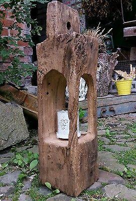 Stehle Eiche altholz eichenholz teelicht laterne windlicht balken skulptur stele