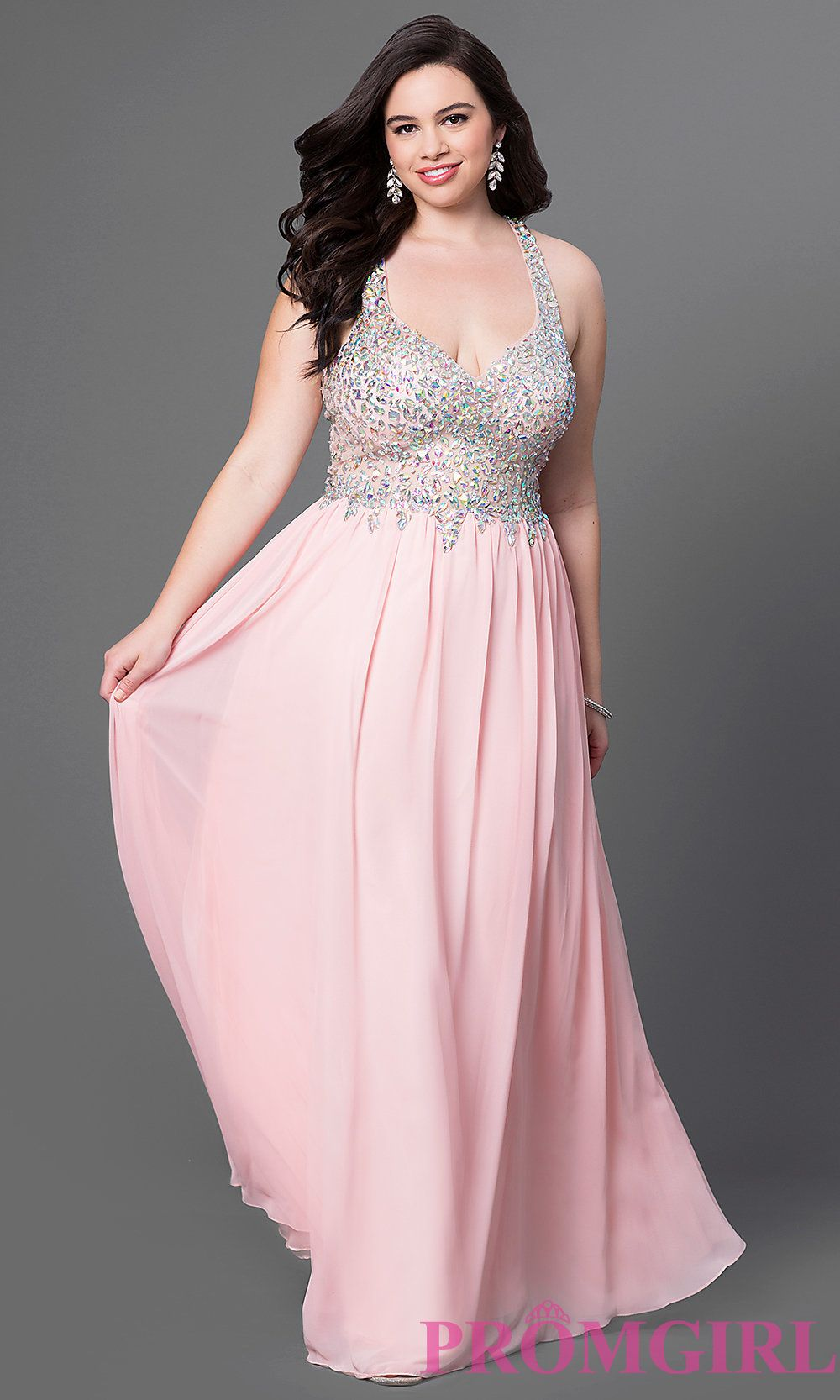 574719dc3c5 Jewels accent the sheer bodice on this floor length racerback plus prom  dress. Style  DQ-8998P