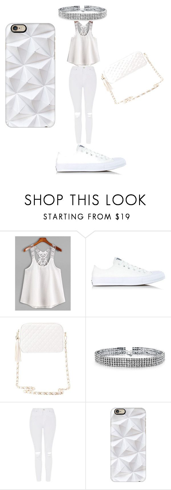 """""""All White Bash 😍"""" by aniyah938 ❤ liked on Polyvore featuring Converse, Charlotte Russe, Bling Jewelry, Topshop and Casetify"""