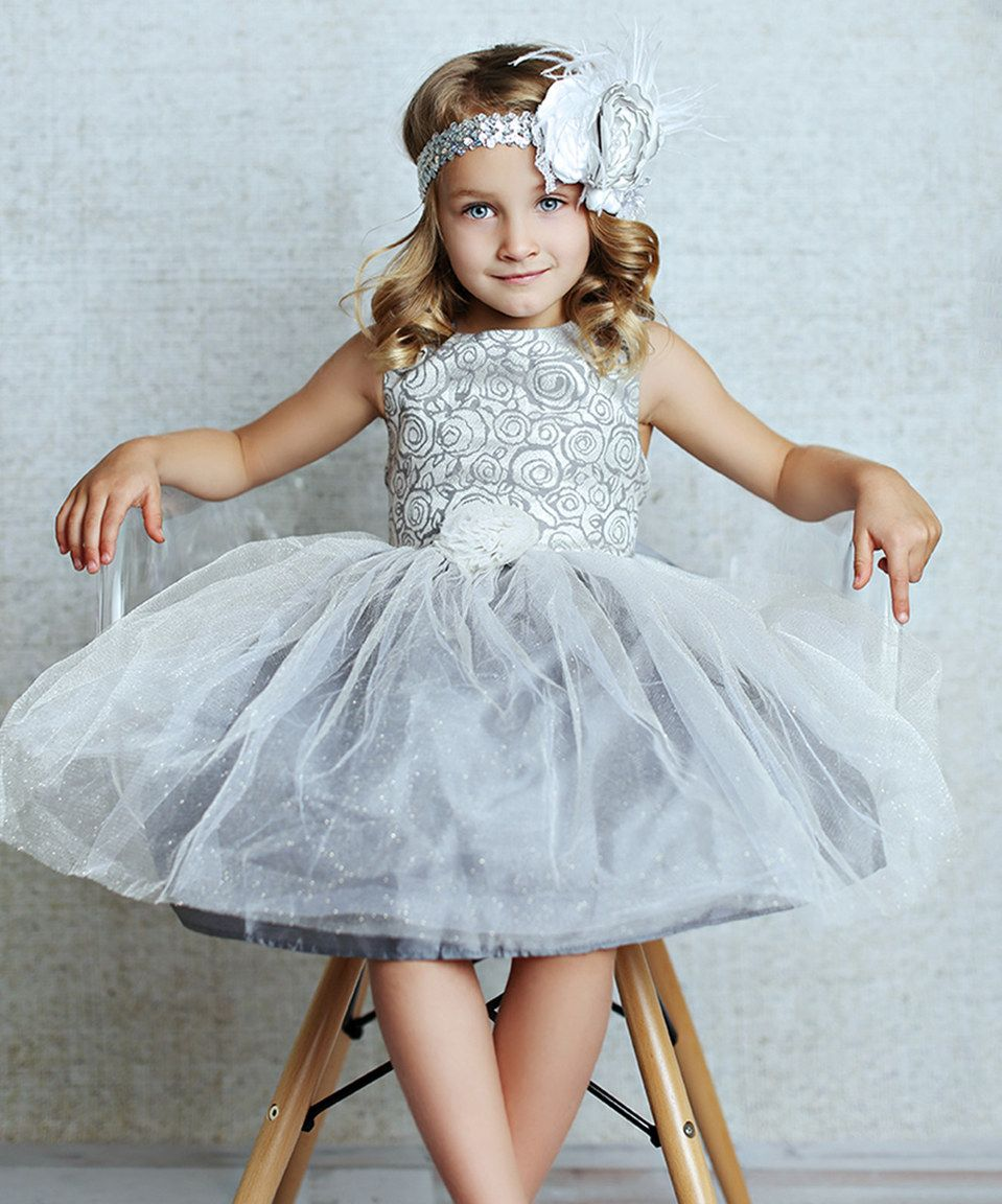 This Silver Rose Tulle Overlay Dress - Infant, Toddler & Girls by ...