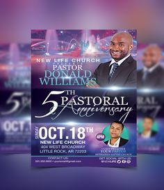 Pastoral Anniversary Flyer Template Flyerthemes  Pastor