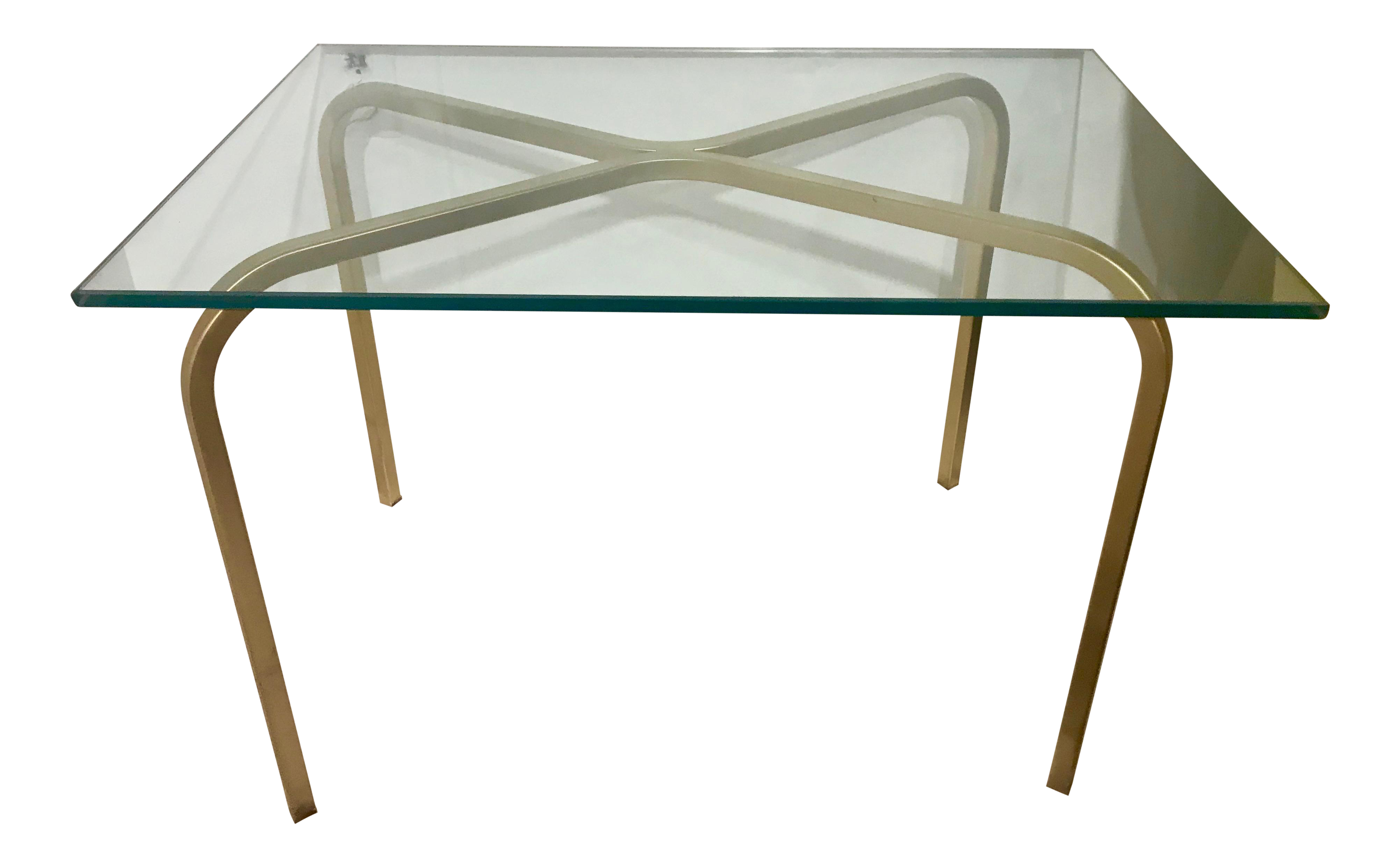 MCM Mid Mod Brushed Gold Aluminum And Glass Side Table Glass Side - Brushed gold side table