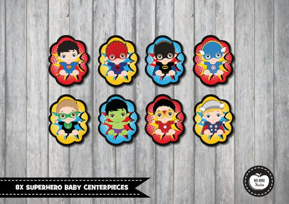SUPERHERO BABY SHOWER Centerpieces Party By RedAppleStudio On Etsy