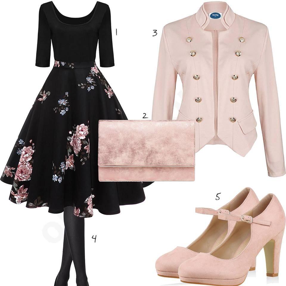 elegantes damenoutfit mit schwarzem kleid, pumps und blazer