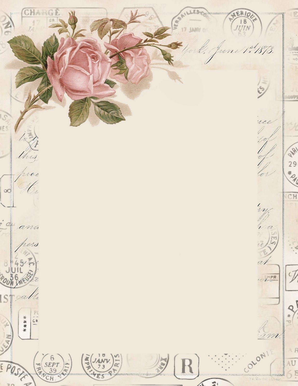 Pretty Letter Template French Postal Marks And Stationary Jpg 1 236 X 600 Pixels