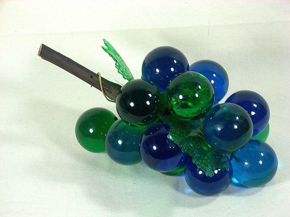 Vintage Glass Grapes Cluster Blue Green 70s Retro 10 X 6 Vintage Memory Glass Vintage