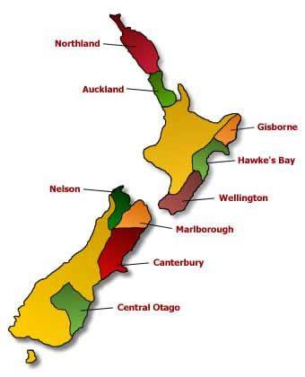 New Zealand Wine Growing Regions Map.Types Of New Zealand Wines New Zealand Wine Is Largely