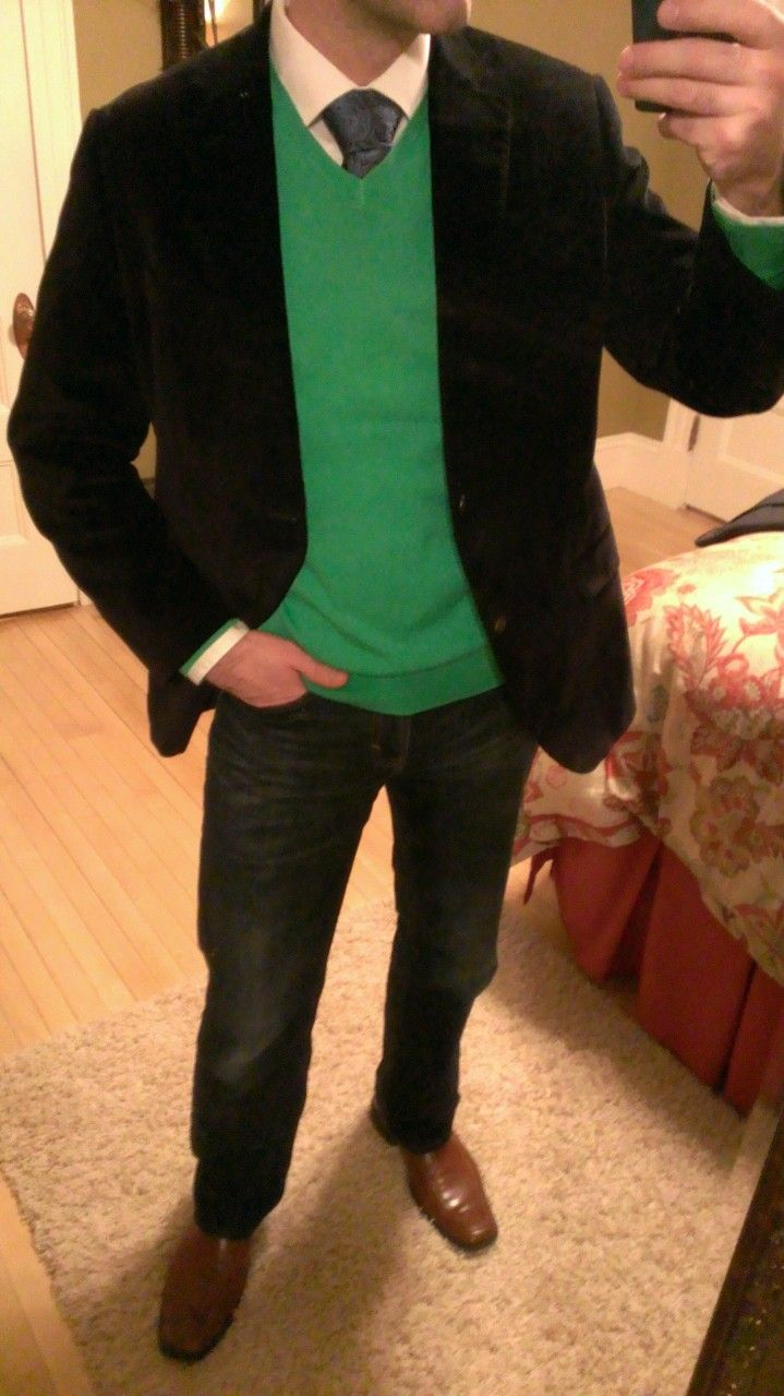 Punch Of Color With The Kelly Green Sweater Over A White Shirt With